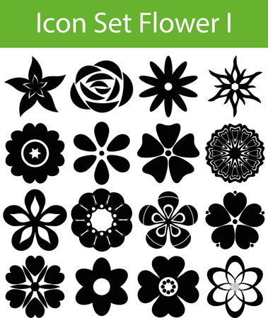 Icon Set Flowers I with 16 icons for different purchase Vector