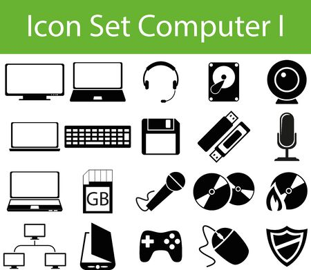 Icon Set Computer I with 20 icons for different purchase Vector