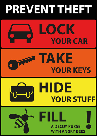 Poster Illustration Graphic Prevent Theft for different purpose