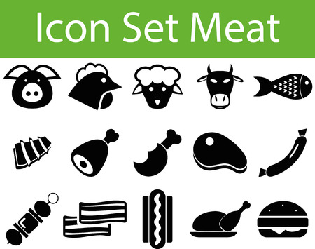 spare ribs: Icon Set Meat with 15 icons for different purchase Illustration