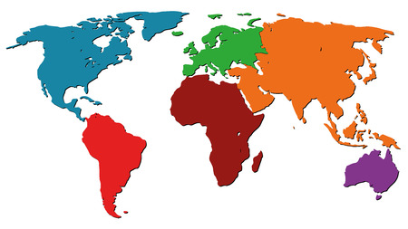 Illustration Graphic Vector World Map colored for different purpose