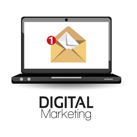 correo electronico: Ilustración Vector Graphic Marketing Digital para diferentes propósitos