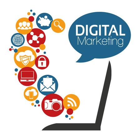 Illustrazione grafica vettoriale Digital Marketing per scopi diversi Archivio Fotografico - 43694973