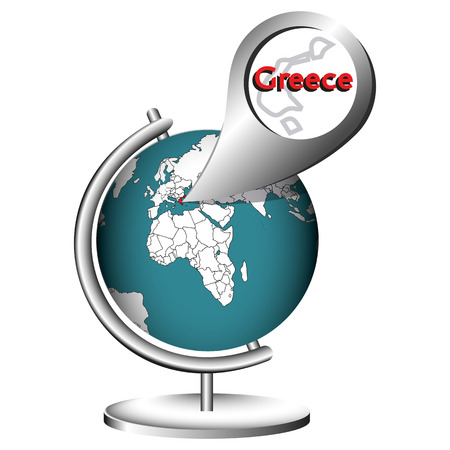 Illustration Vector Graphic Globe Greece for different purpose in web and graphic design Illustration