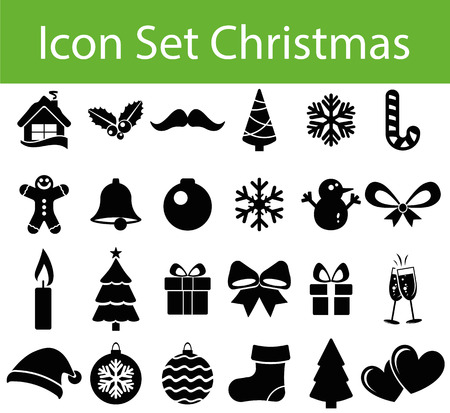 advent candles: Icon Set Christmas with 24 icons for different purchase in web und graphic design Illustration