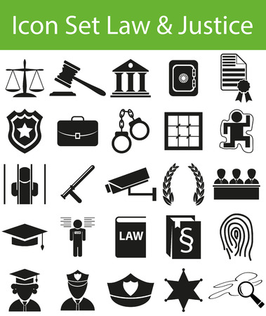 set symbols: Icon Set Law and Justice with 25 icons for the creative use in graphic design