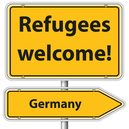 religious tolerance: Illustration Graphic Road Sign Refugees Germany for the creative use in web and graphic design Illustration
