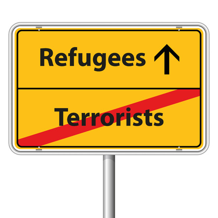 Illustration Graphic Road Sign Refugees for the creative use in web and graphic design