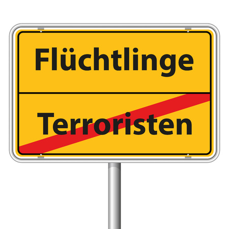 religious tolerance: Illustration Graphic Road Sign Refugees for the creative use in web and graphic design