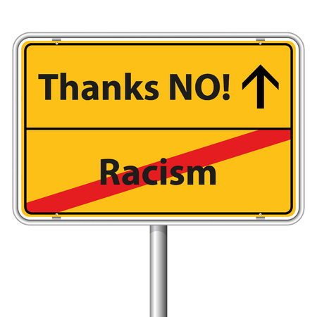 Illustration Graphic Road Sign Racism for the creative use in web and graphic design