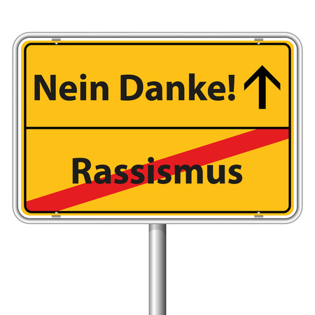 religious tolerance: Illustration Graphic Road Sign Racism for the creative use in web and graphic design