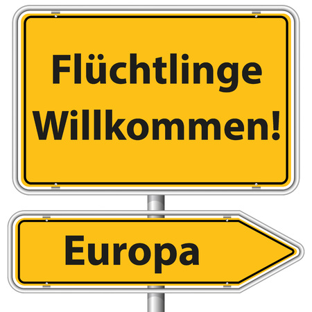 Illustration Graphic Road Sign Refugees Europe for the creative use in web and graphic design