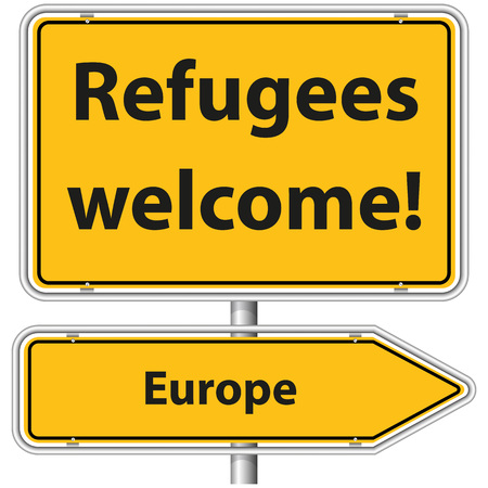 religious tolerance: Illustration Graphic Road Sign Refugees Europe for the creative use in web and graphic design