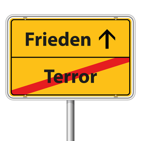 religious tolerance: Illustration Graphic Road Sign Peace for the creative use in web and graphic design