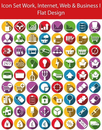 ec: Icon Set Work, Internet, Web and Business I with 72  icons for the creative use in web an graphic design