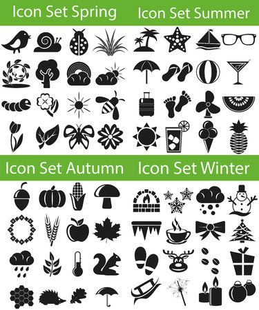 zeichen: Icon Set Four Seasons  with 64 icons for the creative use in graphic design