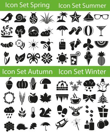 Stel Icoon Four Seasons met 64 iconen voor het creatieve gebruik in de grafische vormgeving