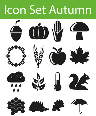 zeichen: Icon Set Autumn with 16 icons for the creative use in graphic design