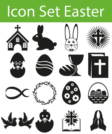 holy family: Icon Set Easter with 16 icons for the creative use in graphic design Illustration