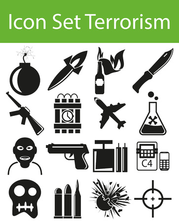 chemical weapon symbol: Icon Set Terrorism with 16 icons for the creative use in graphic design Illustration