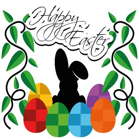 copyspace: Illustration Vector Graphic Happy Easter with copyspace for the creative use in web and graphic design