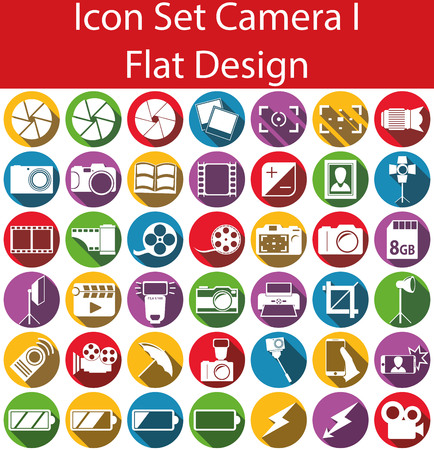 shutter speed: Flat Design Icon Set Camera I with 42 icons for the creative use in web an graphic design