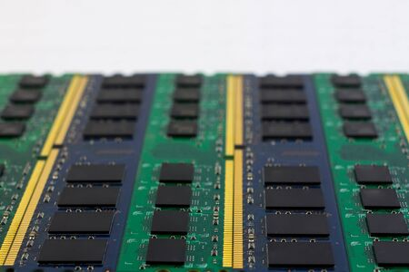 megabytes: Technology computer component RAM background with copyspace and selective focus