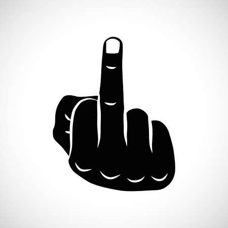 Icon Illustration Vector Graphic middle finger for the creative use in graphic design Vetores