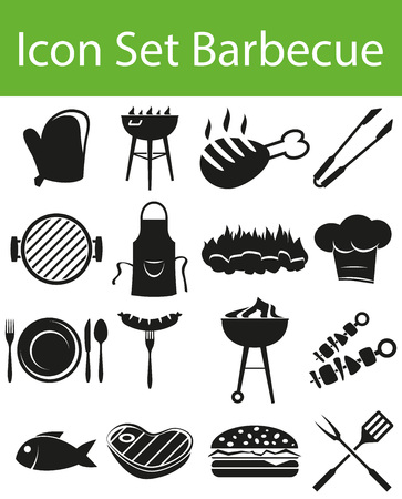 grill tongs sausage: Icon Set Barbecue with 16 icons for the creative use in graphic design