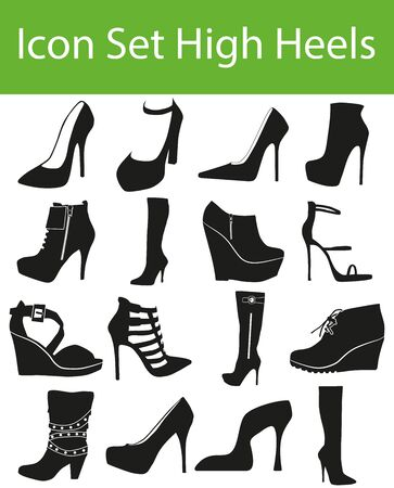 high heels: Icon Set High Heels with 16 icons for the creative use in graphic design