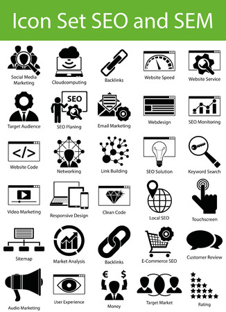 sem: Icon Set SEO and SEM with 30 icons for the creative use in graphic design