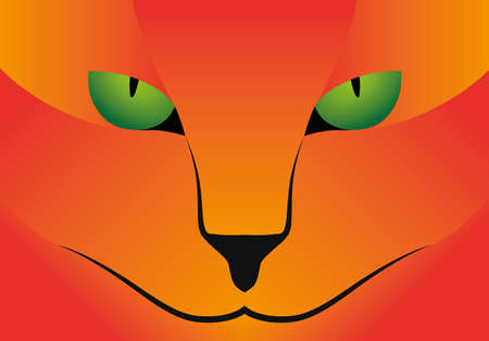 green eyes: Illustration Vector Graphic red Cat green Eyes for the creative use in graphic design