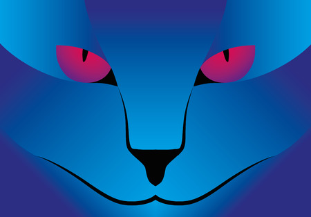 face close up: Illustration Vector Graphic blue Cat purple Eyes for the creative use in graphic design