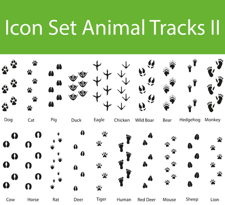 animal tracks: Icon Set Animal Tracks II with 20 icons for the creative use in graphic design