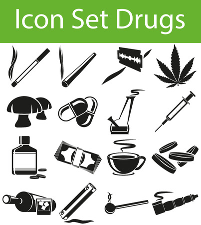 bong: Icon Set Drugs with 16 icons for the creative use in graphic design