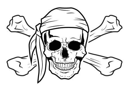 Illustratie Vector Graphic Skull Pirate voor het creatieve gebruik in de grafische vormgeving Stock Illustratie