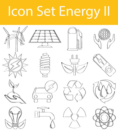 gas lamp: Drawn Doodle Lined Icon Set Energy II with 16 icons for the creative use in graphic design