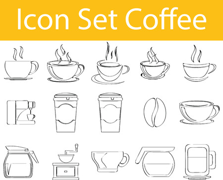 indulgence: Drawn Doodle Lined Icon Set Coffee I with 15 icons for the creative use in graphic design