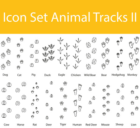 human footprint: Drawn Doodle Lined Icon Set Animal Tracks II with 20 icons for the creative use in graphic design