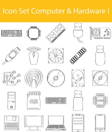 Drawn Doodle Lined Icon Set Computer_Hardware I with 25 icons for the creative use in graphic design