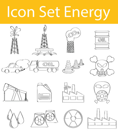 cooling tower: Drawn Doodle Lined Icon Set Energy I with 16 icons for the creative use in graphic design