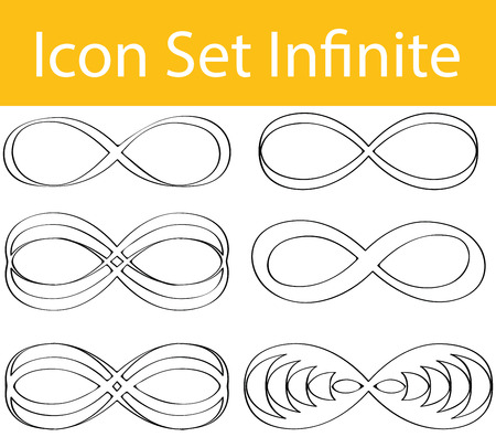 infinitely: Drawn Doodle Lined Icon Set Infinite with 6 icons for the creative use in graphic design Illustration