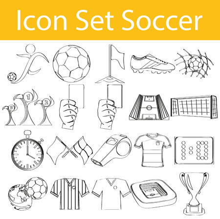 football shoe: Drawn Doodle Lined Icon Set Soccer with 20 icons for the creative use in graphic design