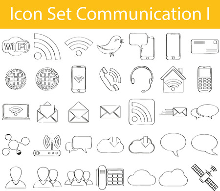 Drawn Doodle Lined Icon Set Communication I with 35 icons for the creative use in graphic design