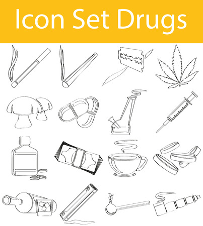 bong: Drawn Doodle Lined Icon Set Drugs with 16 icons for the creative use in graphic design Illustration