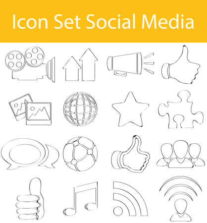 podcasts: Drawn Doodle Lined Icon Set Social Media with 16 icons for the creative use in graphic design