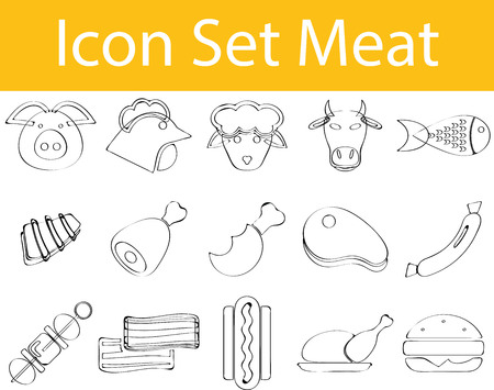 spare ribs: Drawn Doodle Lined Icon Set Meat with 15 icons for the creative use in graphic design Illustration