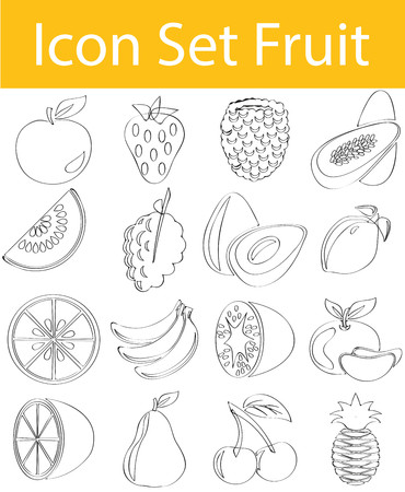 Drawn Doodle Lined Icon Set Fruit with 16 icons for the creative use in graphic design Illustration