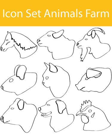 cloven: Icon Set Animals Farm with 9 icons for the creative use in graphic design