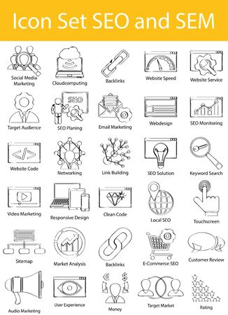 sem: Drawn Doodle Lined Icon Set SEO and SEM with 30 icons for the creative use in graphic design